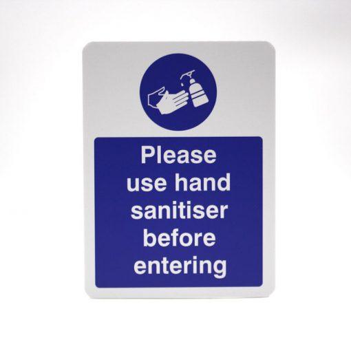 hand sanitising sign
